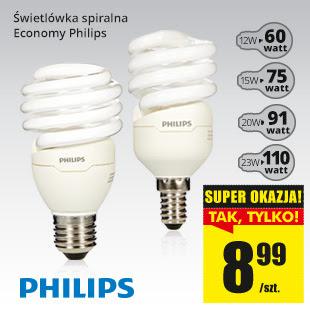 Żarówki energooszczędne (świetlówki spiralne) PHILIPS za 8,99zł @ Biedronka