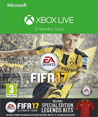 Abonament Xbox Live Gold 12 miesiecy + dodatki Fifa 17 lub GOW4 @ Amazon.co,uk