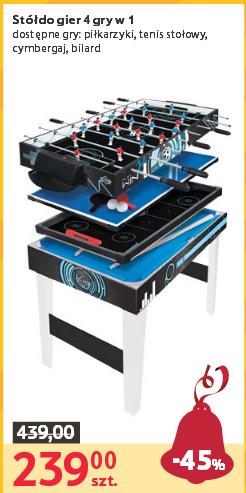 Stół do gier 4 w 1 (piłkarzyki, cymbergaj, tenis stołowy i bilard) za 239zł @ Tesco