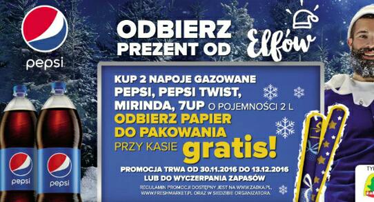 Za 2 butelki 2 litrowe Pepsi, Pepsi Twist, Mirindy lub 7UP papier do pakowania prezentów gratis @Żabka i Fresh Market