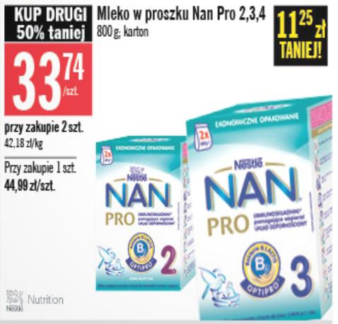 Mleko Nestle NAN Pro 800g za 33,74zł (przy zakupie 2 sztuk) @ Stokrotka