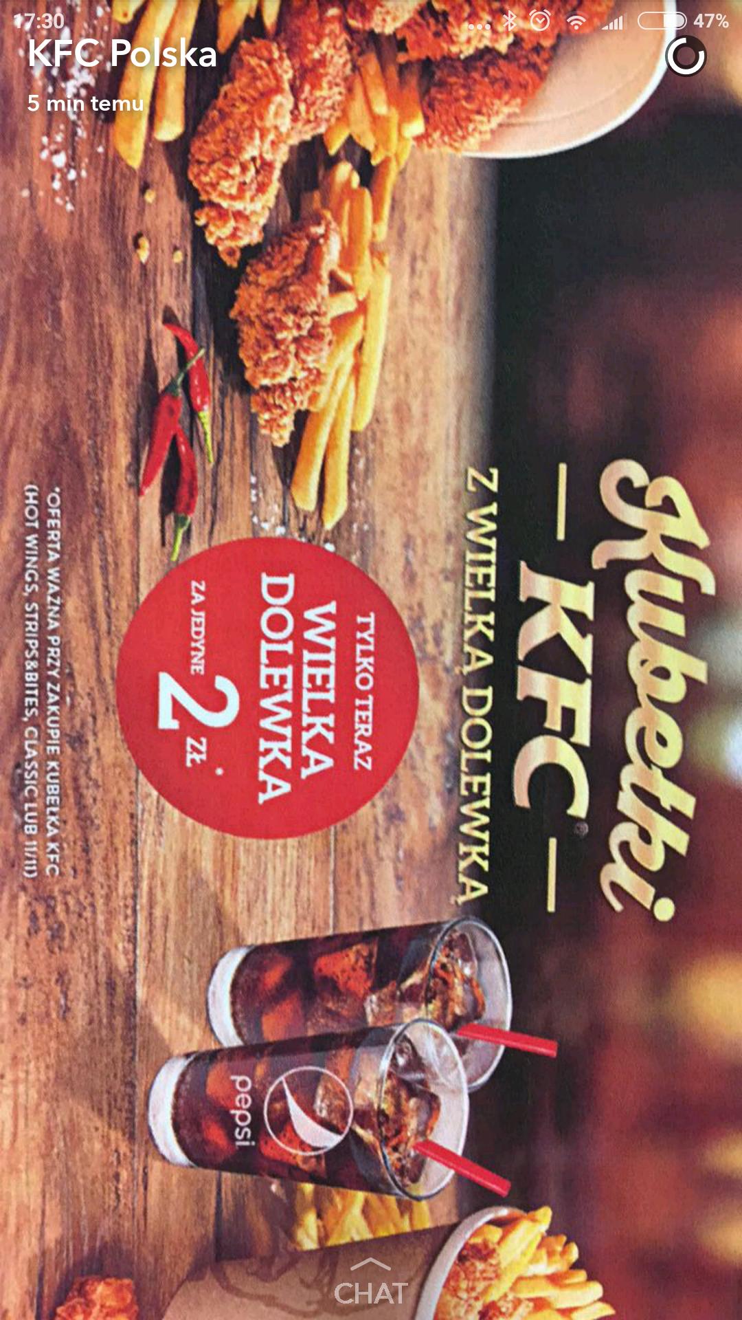 KFC: Wielka Dolewka za 2 zł przy zakupie kubełka