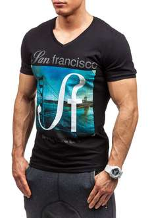 Czarna koszulka męska w serek by @denley po 9.99 z 35 zł
