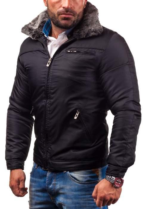 Czarna kurtka męska zimowa by @Denley - 60% promocja