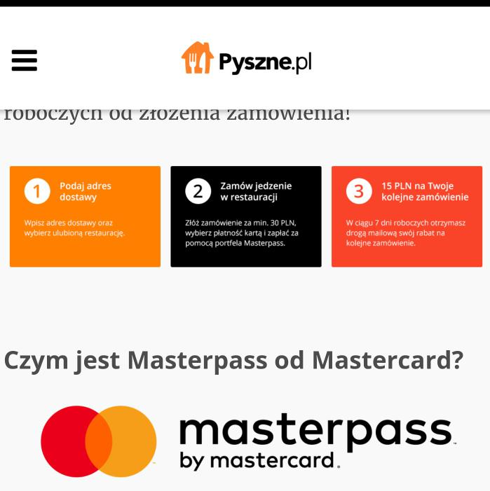 Zgarnij 15 PLN na Pyszne.pl! Za płatność przez Masterpass