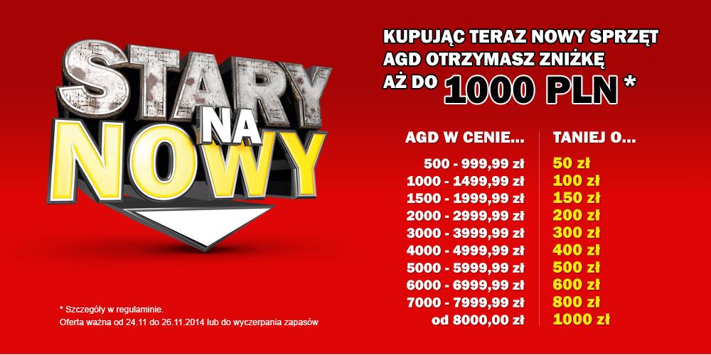 Kup dowolny produkt z kategorii AGD o wartości równej lub wyższej od 500zł, a otrzymasz rabat min.50zł @ Media Markt