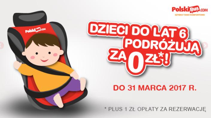 Bilety po 1zł dla dzieci do lat 6. Promocja przedłużona do 31 marca @ Polski Bus