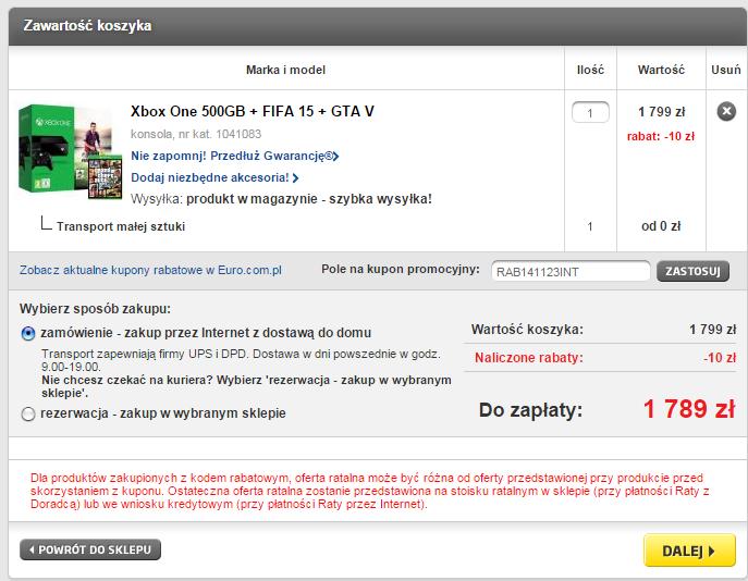 Xbox One (500GB) + dwie gry (GTA V oraz FIFA 15) za 1789zł ! @ RTV Euro AGD