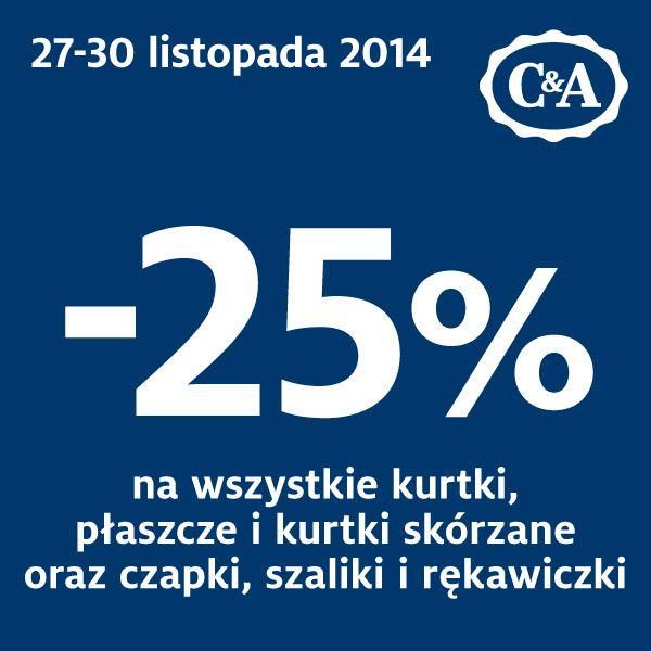 25% zniżki na kurtki, płaszcze i akcesoria zimowe @ C&A