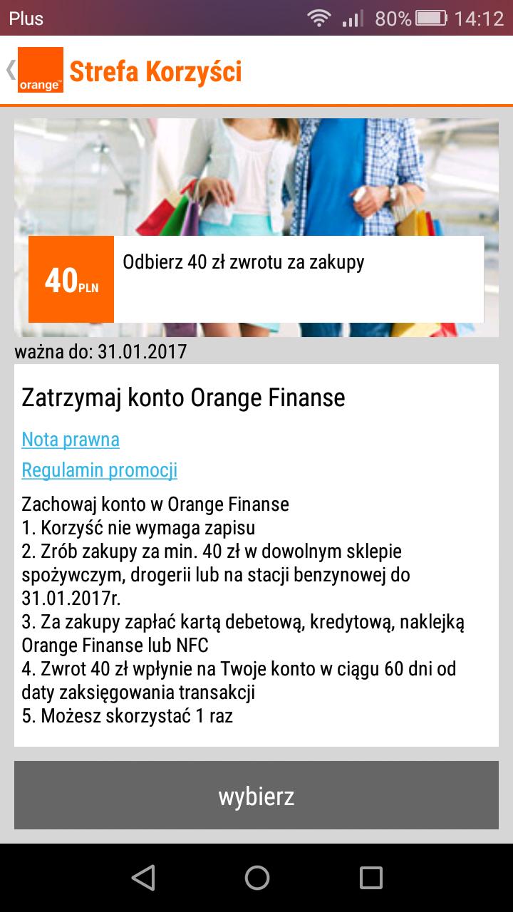 40 zł za cofnięcie wypowiedzenia umowy w Orange Finanse