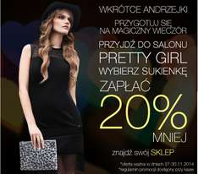 Andrzejkowa promocja: -20% na sukienki @ Pretty Girl