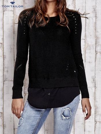 PRZECENA  z 219 zł  TOM TAILOR Czarny sweter z koszulą