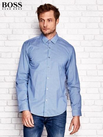 HUGO BOSS Niebieska koszula męska w kolorową kratkę