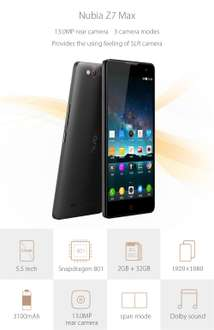 Nubia Z7 MAX Android 5.1 4G Phablet Snapdragon 800 MSM8974 1920 x 1080 (FHD)