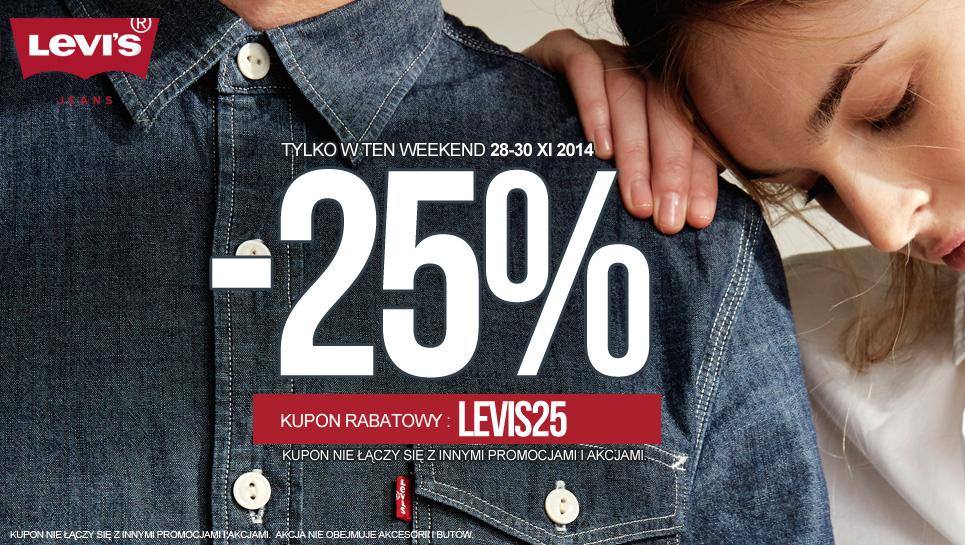 Kod rabatowy -25% na  asortyment marki Levis @ Jeans24h