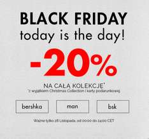 (Black Friday) 20% rabatu na cały asortyment @ Bershka