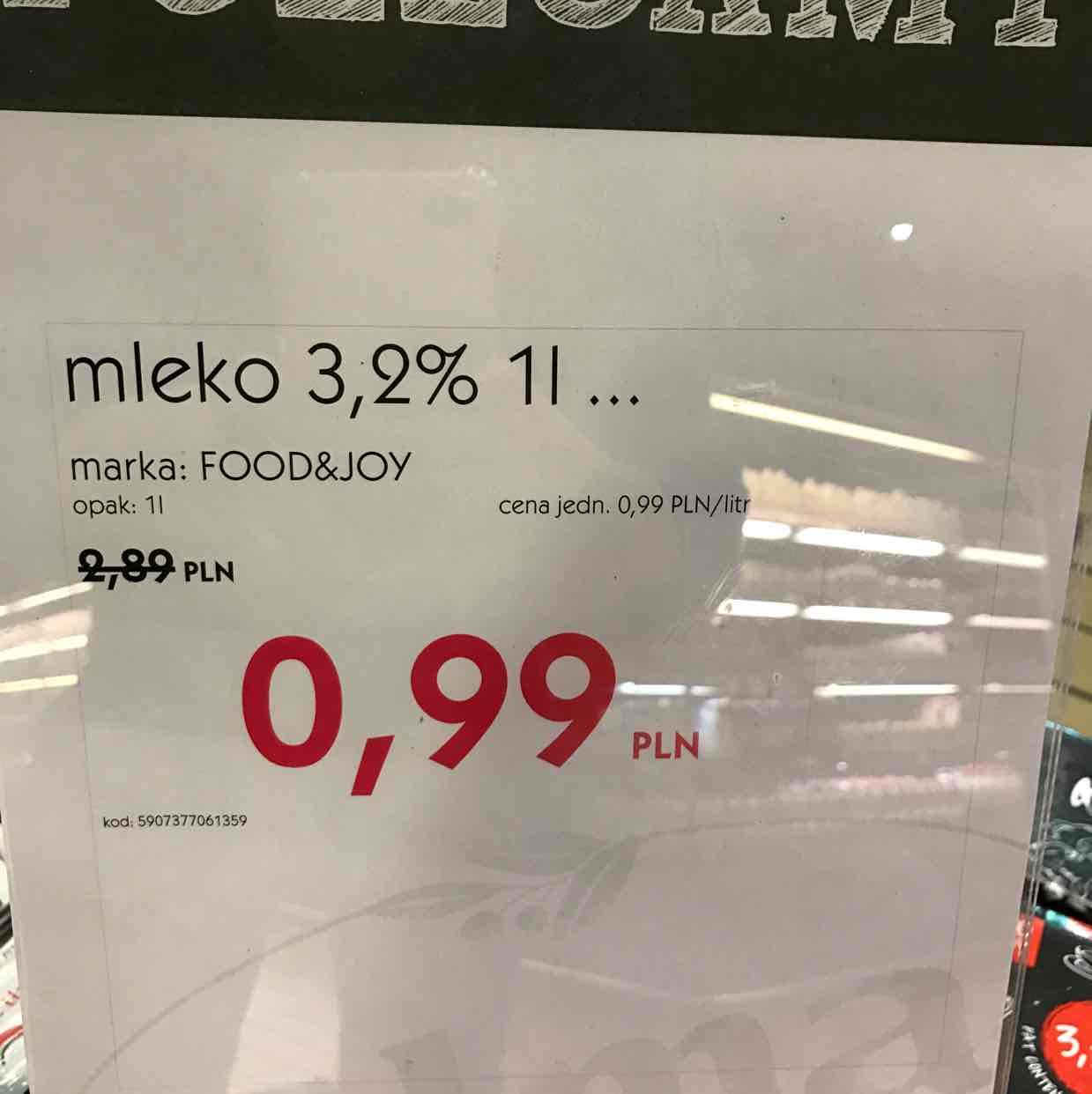 1l mleka 0,99PLN @alma