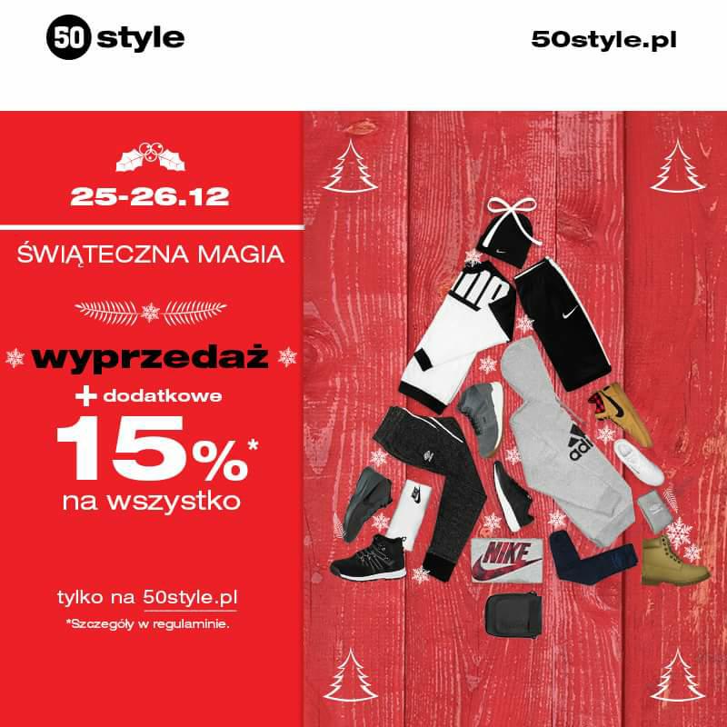 Wyprzedaż + 15% na wszystko @50style i 50style.pl