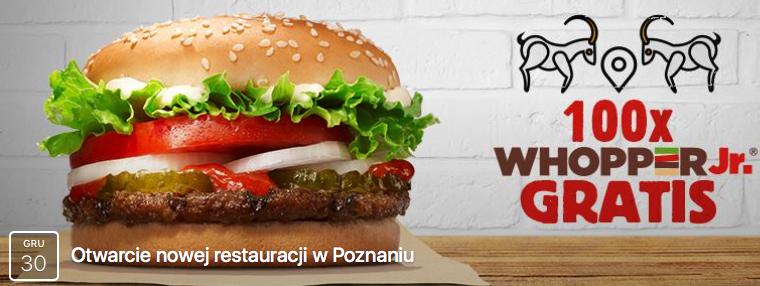 100 darmowych Whopper Jr. na otwarcie @ Burger King - Poznań