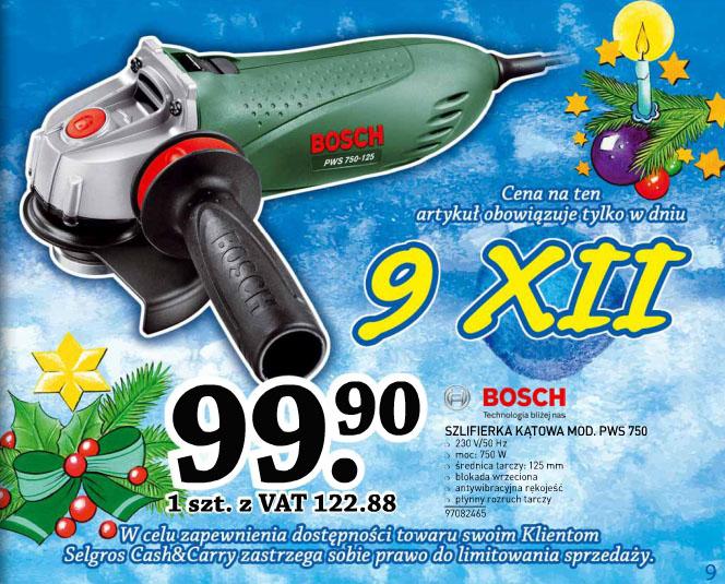Szlifierka kątowa Bosch PWS 750 za 122,88 zł (100 zł TANIEJ) @ Selgros