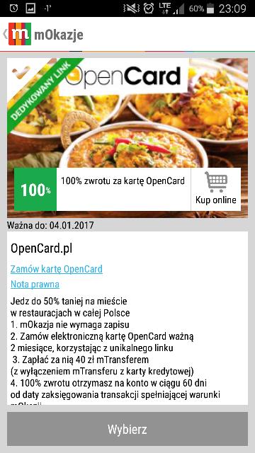 Mokazje 100% zwrotu kosztów za opencard na dwa miesiące!