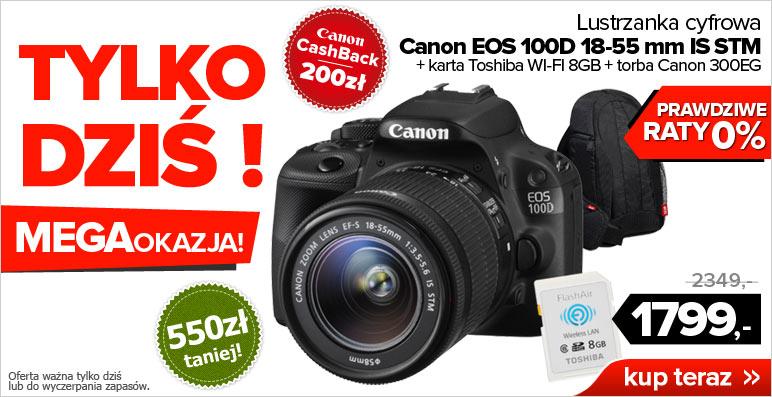 (TYLKO DZISIAJ) Canon 100D+18-55mm IS STM+ karta WiFi 8GB+torba za 1599zł @ Agito