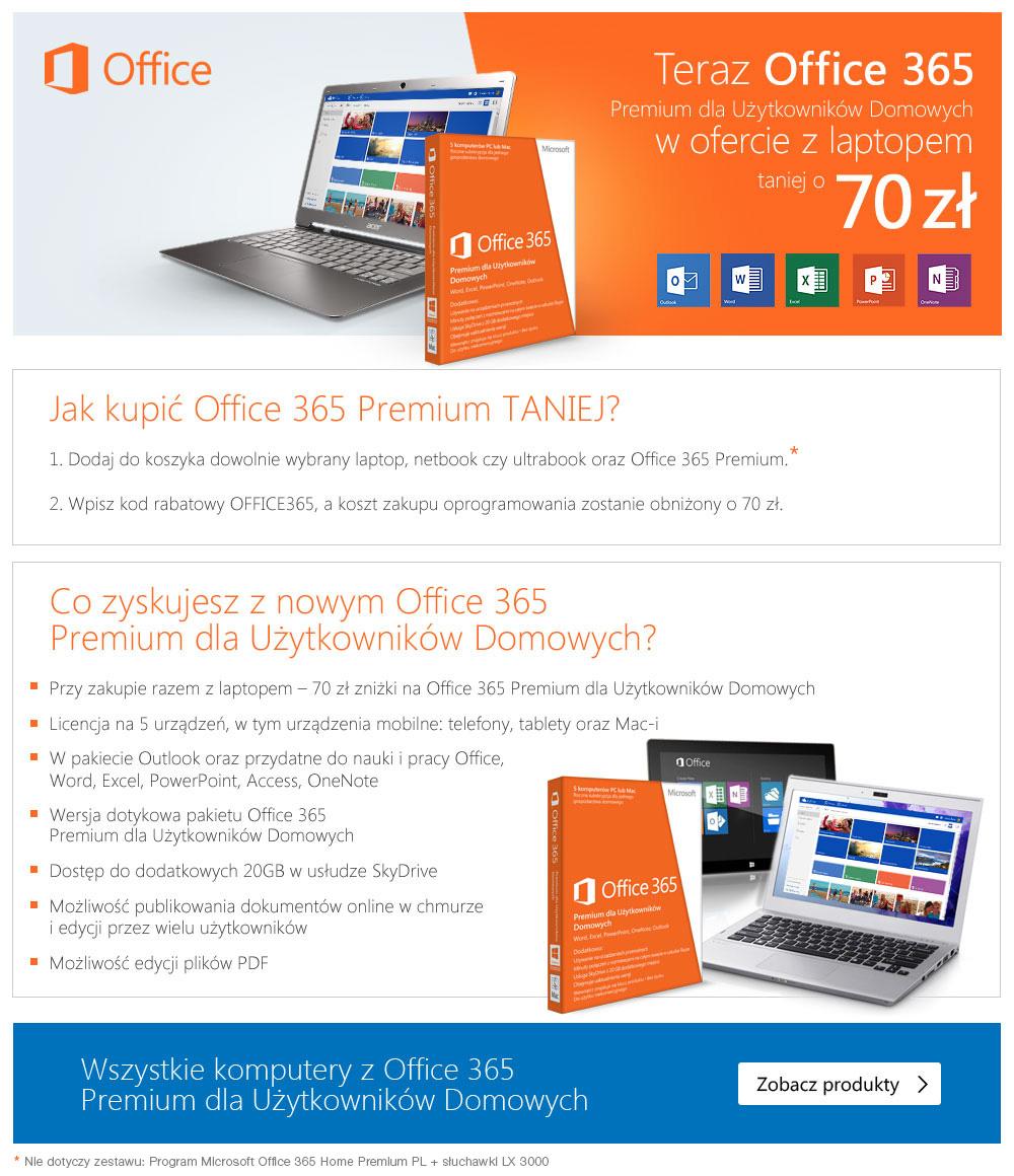 70 zł rabatu na zakup Office 365 Premium z laptopem @ mediamarkt