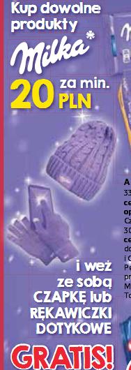 Czapka lub rękawiczki dotykowe gratis przy zakupie produktów Milka za min. 20zł @ Tesco