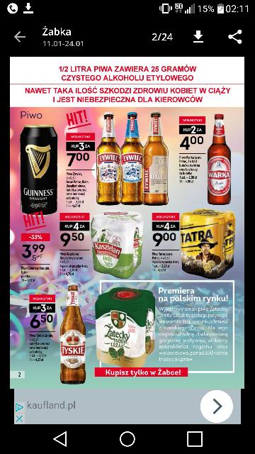 Promocja na piwa w żabka np. Warka/b 2 za 4zł @żabka