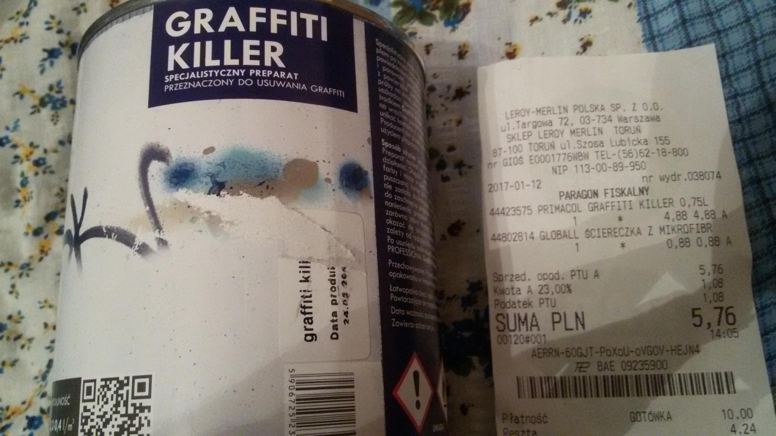 Primacol Graffiti Killer, środek do usuwania graffiti, LEROY MERLIN, WYPRZEDAŻ