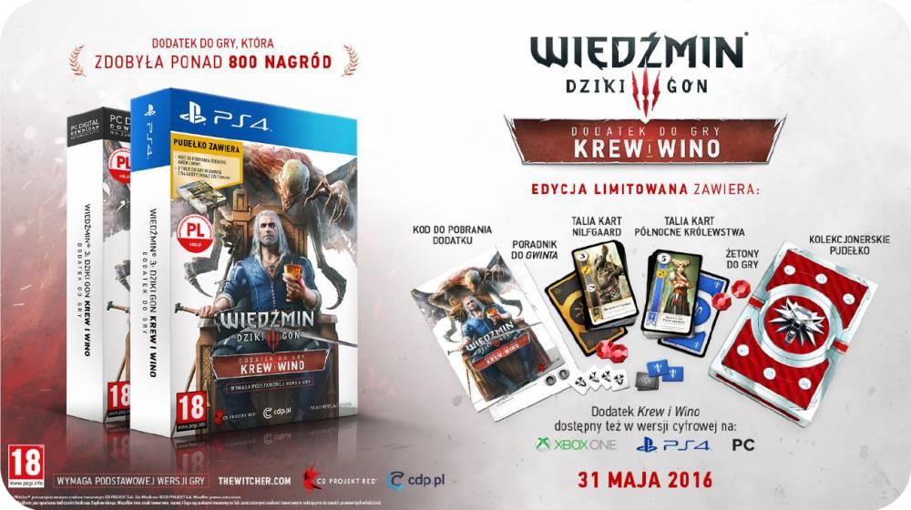 Wiedzmin Krew i Wino dodatek na PS4 (edycja z kartami)