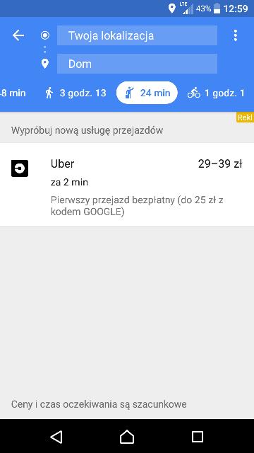 UBER Pierwszy przejazd ZA DARMO do 25zł z kodem Google