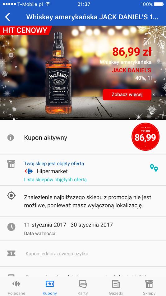 Jack Daniels 1l - 86,99zł - Carrefour (Hipermarket)