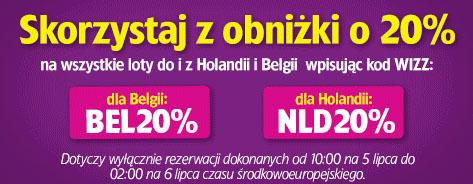 Tylko dzisiaj! 20% zniżki na loty z/do Belgii i Holandii @ WIZZ AIR