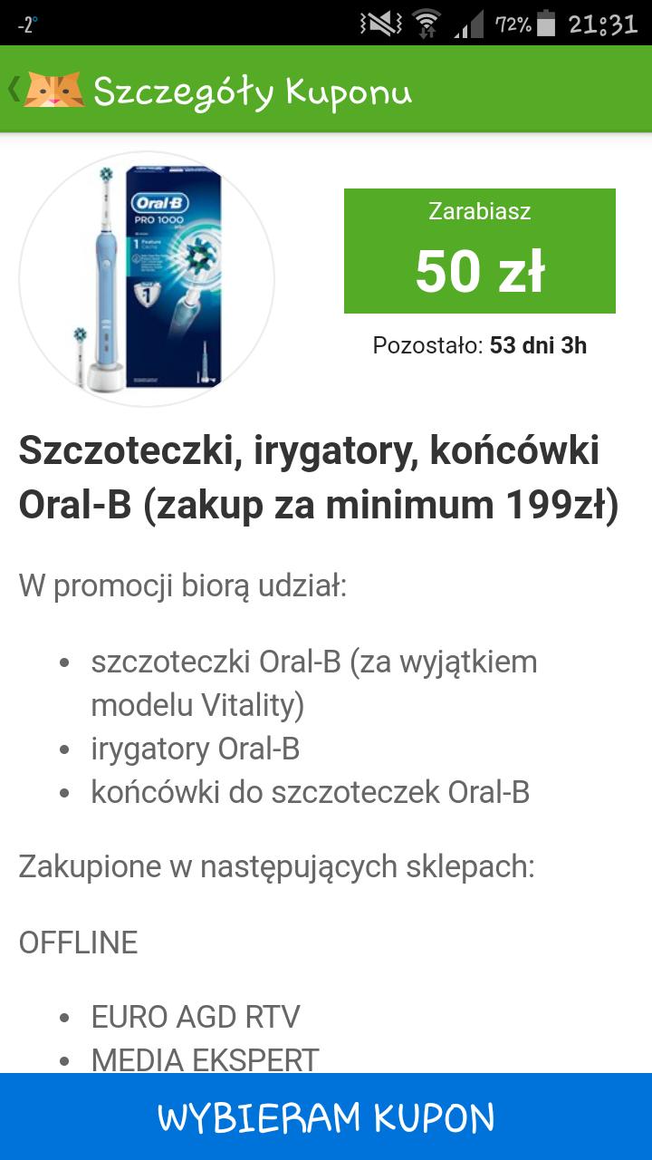 Zwrot za zakup szczoteczek, końcowek, irygatorów Oral-B @Kupony Żbik