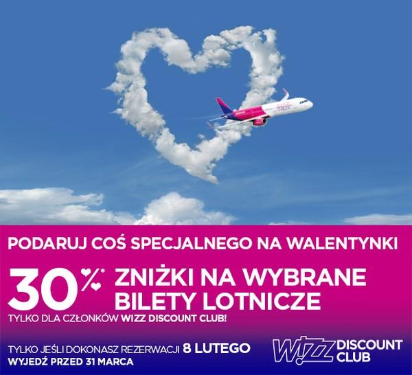 Walentynkowa promocja Wizz Air: 30% zniżki na wybrane trasy