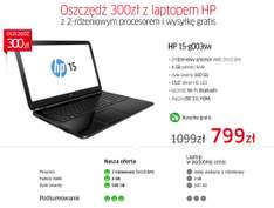 "Laptop 15,6"" HP 15-G003SW E1-2100/4GB/500/DVD-RW za 799zł @ Allegro"