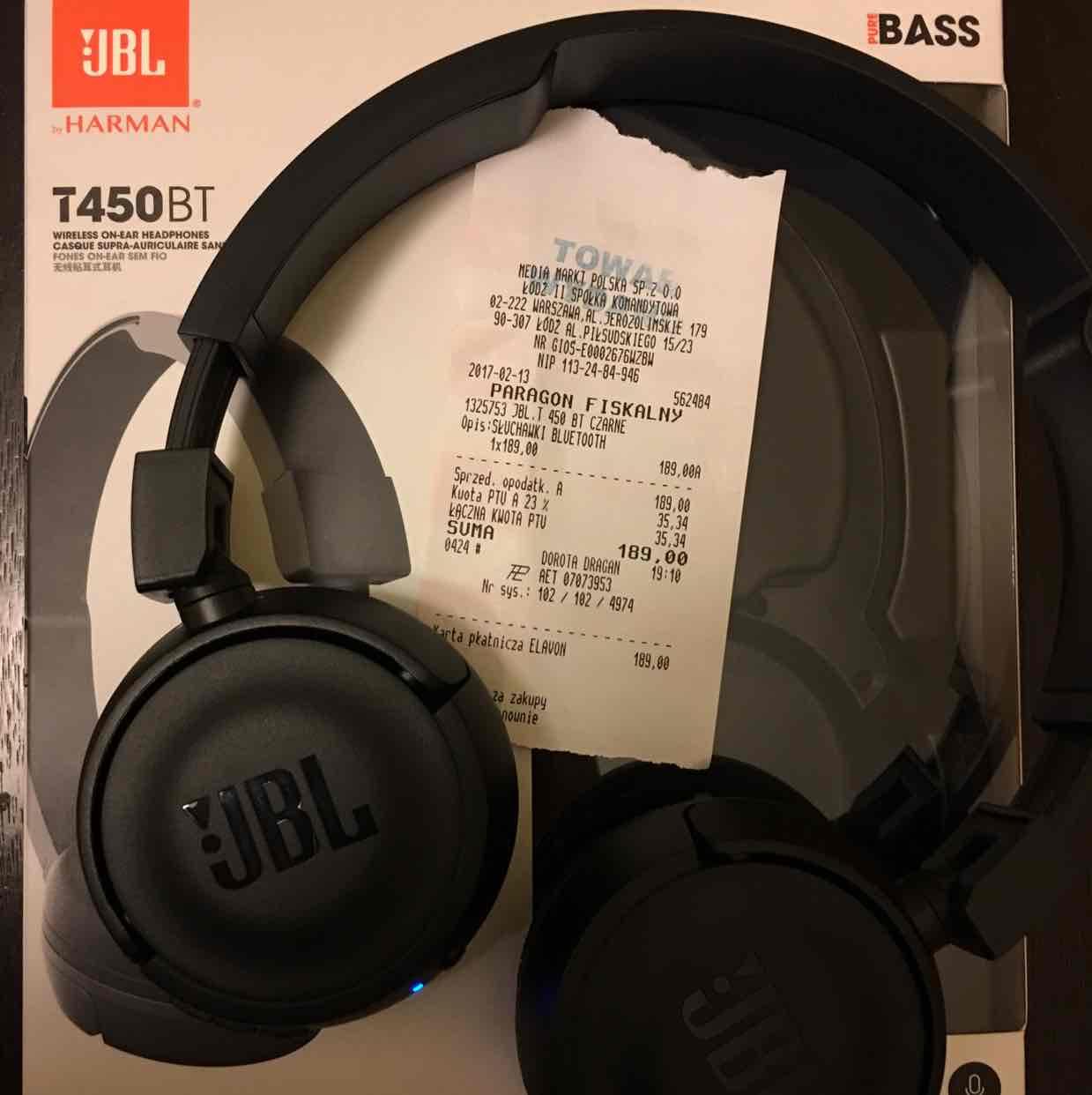 Słuchawki JBL T450BT @ Media Markt (Łódź)
