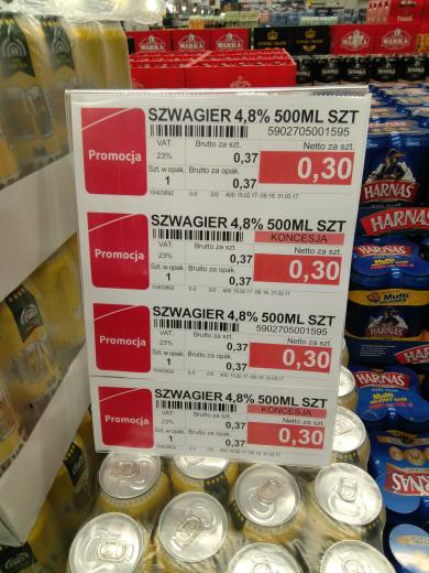 Piwo szwagier 0.37zl brutto puszka Selgros Polczynska W-wa