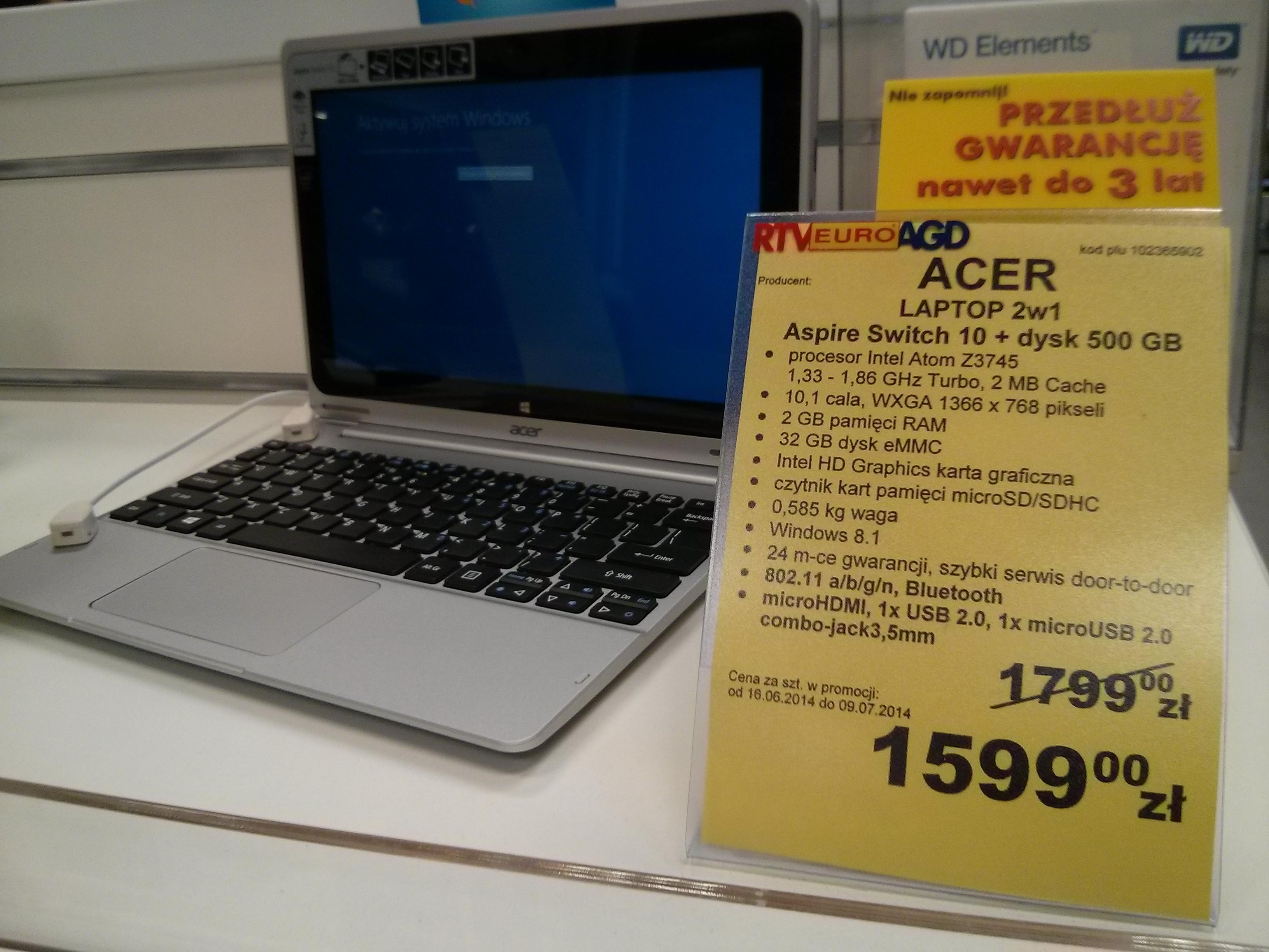 Acer Aspire Switch 10 + dysk 500 GB za 1599 zł @ RTV EURO AGD