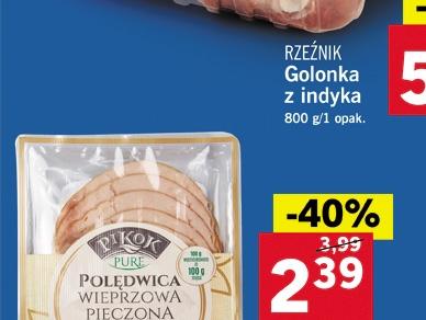 Polędwica wieprzowa pieczona Pikok Pure (bez chemii) -40%. Lidl