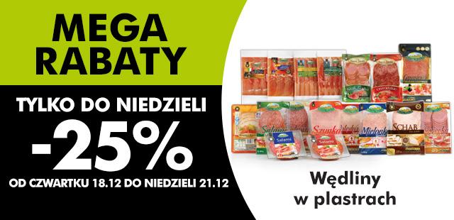MEGA RABATY -25% na wszystkie wędliny w plastrach @ Biedronka