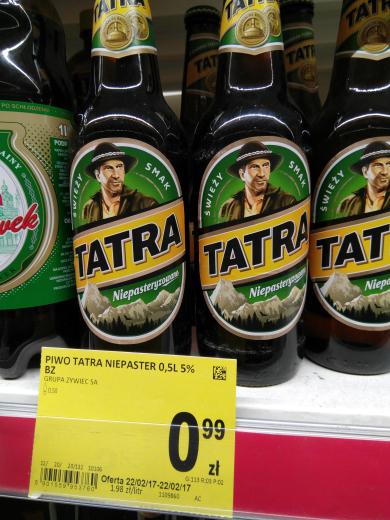 Piwo tatra niepasteryzowane Carrefour Targowek