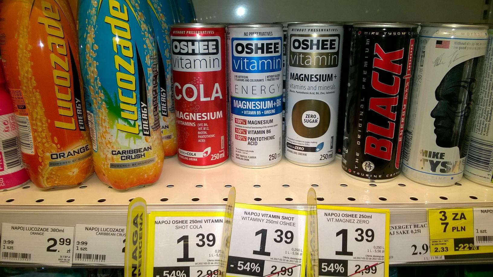 Oshee Vitamin za 1,39zł Energy, magnesium, Cola. -54%