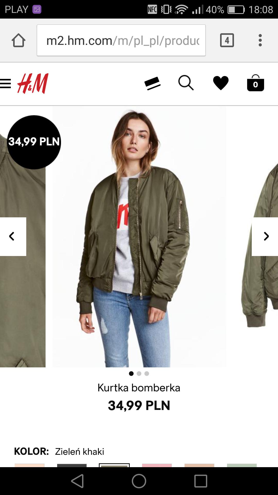 Błąd cenowy H&M, bomberka damska 34,99zł