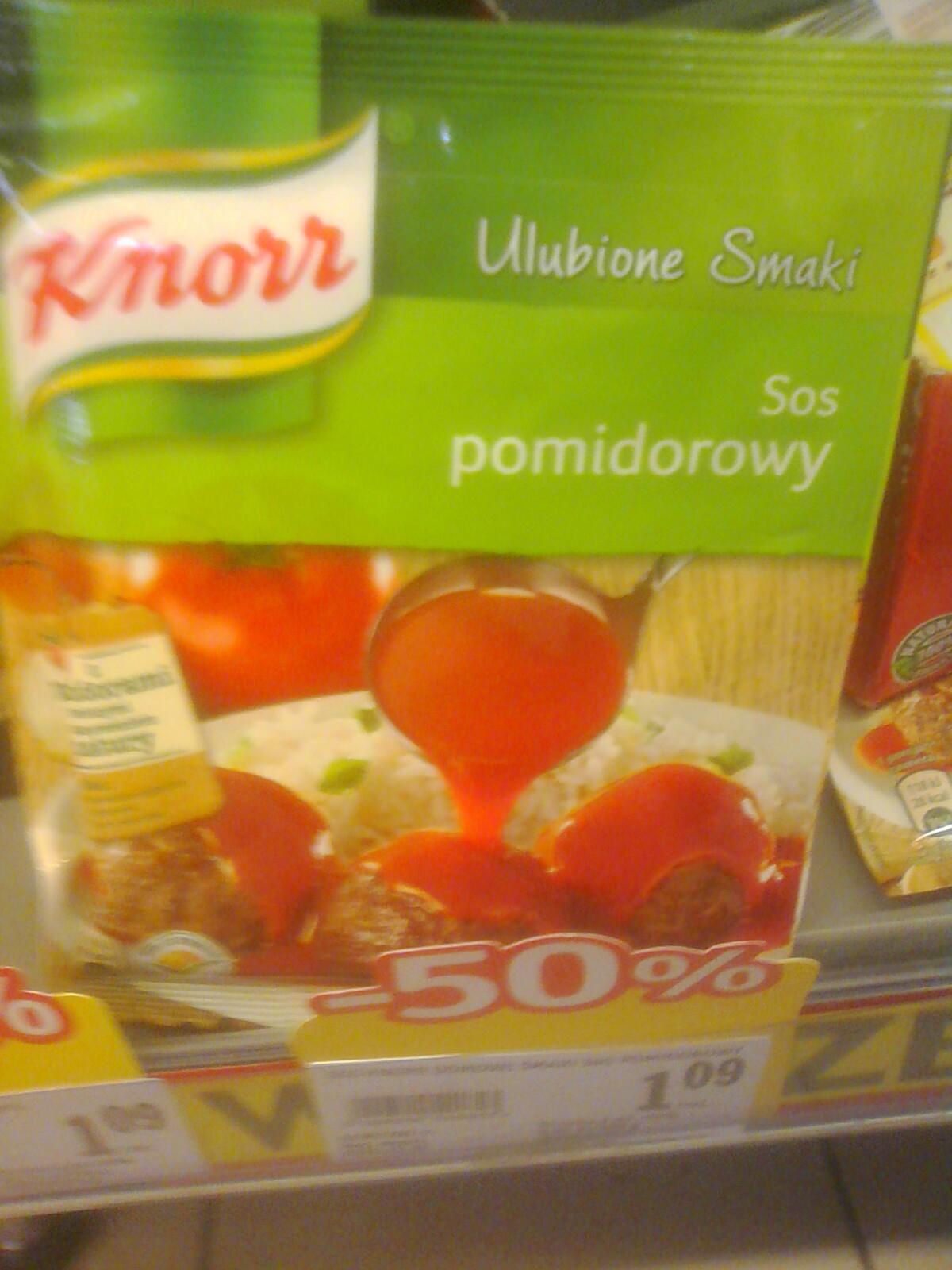 Knorr - sos pomidorowy, wyprzedaż  -50% Stokrotka