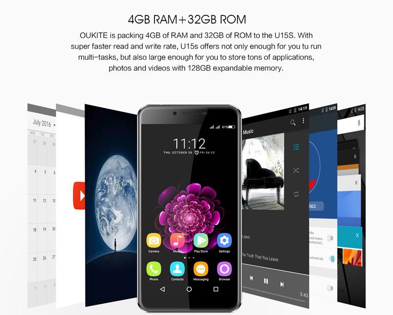 "OUKITEL U15S 5.5"" FHD MTK6750T Octa-core Android 6.0 4G Phone 16MP Panasonic CAM 4GB RAM 32GB ROM Touch ID"