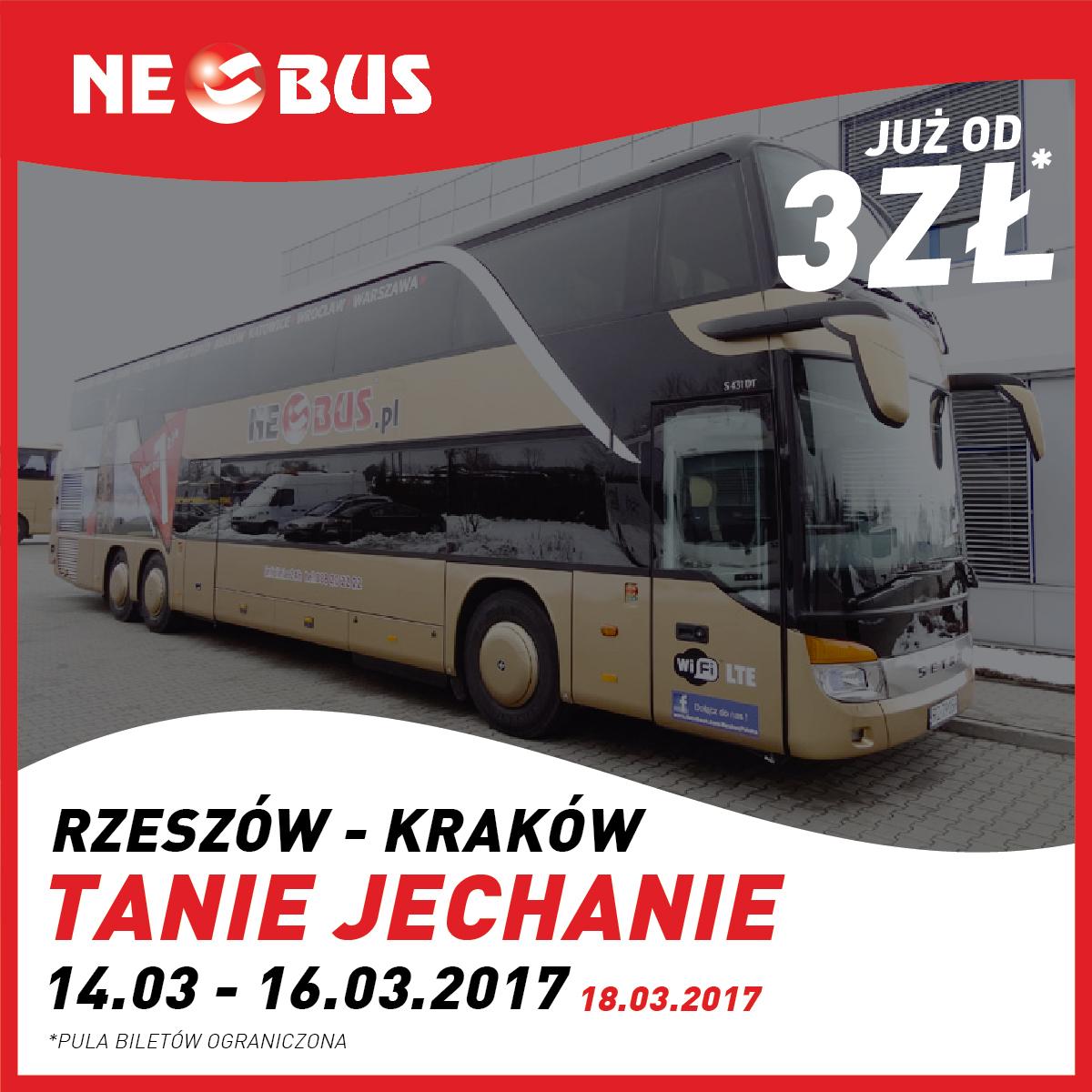 Bilety na trasie Rzeszów - Kraków/Kraków - Rzeszów po 3zł @ Neobus
