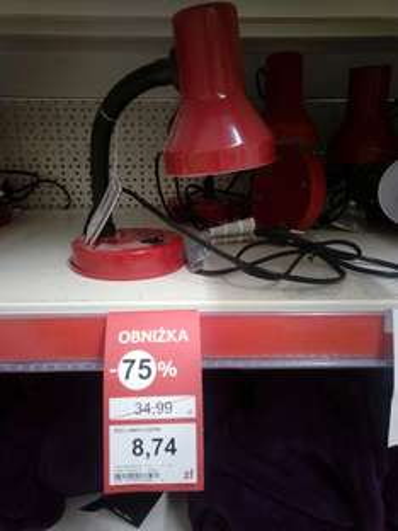 basic desk lamp Red lampa na biurko Tesco Poznań Opieńskiego 1