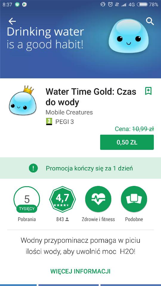 przypominacz picia wody: water time gold